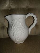 EXQUISITE VINTAGE ITALIAN PITCHER-CERAMIC/PORCELAIN-FROM ITALY-GRAPE DESIGN-NICE