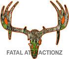 Camo Orange Deer Skull S9 Vinyl Sticker Decal Hunting buck trophy rack bow