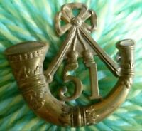 VICTORIAN 51st Kings Own Yorkshire Light of Foot Cap Badge QVC Lugs ANTIQUE Org