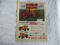 "MINNEAPOLIS MOLINE MODEL 335 AND 445 TRACTOR AD  9/"" x 12/"" ALUMINUM Sign"