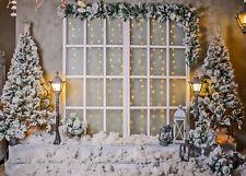 10x8ft Christmas Tree Garland Decor Stair Snow Photo Background Vinyl Backdrop