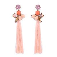 Earrings Golden Chandelier Pompom Pale Pink Super Long Baroque XX26