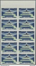 France 1418 block 10 imperforated MNH. 1964 Aviatio DC-3 cat €550