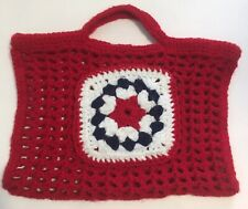 Hand Crocheted Handbag Purse Granny Square Pocket Red White Blue July 4