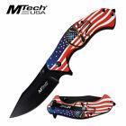 Spring-Assist Folding Knife | Mtech American Flag Skull Black Blade Tactical EDC