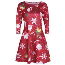 Womens Long Sleeve Christmas Jumper Dress Ladies Santa Tunic Mini Swing Skirt