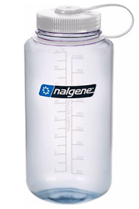 Nalgene 32 oz wide mouth clear bottle with white lid
