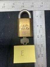 Vintage AC Spark Plug Best Padlock With Key (F) Flint MIchigan