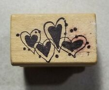 4 Little Hearts Rubber Stamp Magenta #08058F