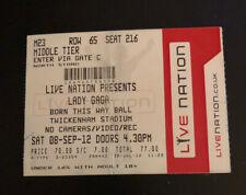LADY GAGA Ticket Stub 'Born This Way Tour 2012' Twickenham Stadium