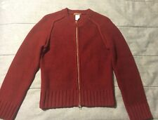 J. Crew Cotton Inside Out Knit Raglan Sleeve Cardigan Sweater XS Burgundy