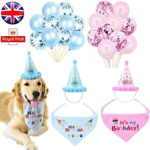 Dog Cat Pet Happy Birthday Hat Bandana Neckerchief Ties Balloons Party Decor