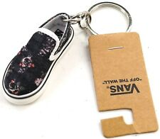 "New VANS ""Off The Wall"" Black Vintage Floral Print Mini Slip-On Shoe Keychain"
