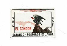 1 Old Ecuador c early 1900s Matchbox label El Condor size 52x34mm