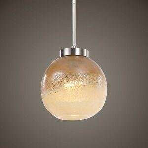 MELISSA  GOLDEN AMBER GLASS & METAL PENDANT CHANDELIER LIGHT UTTERMOST 21552