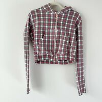 Frank & Eileen Women's Sz XS Tee Lab Cotton Plaid Zip Up Hoodie Long Sleeve Crop