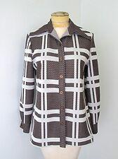 Vgc Vtg 70s Mod Brown White Geometric Check Poly Knit Swiss Dot Blouse Top M/L