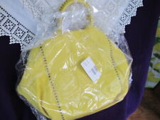 GIUDIT Italian leather large studded yellow TOTE BAG shopper + long strap bnwt