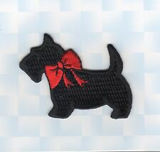 SCOTTIE DOG WITH RED BOW IRON ON APPLIQUE MOTIF PATCH, BRAND NEW