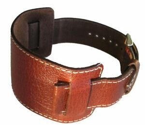 Wide Cuff 44mm Brown Genuine Leather Strap Has 22mm Lug End For Watch