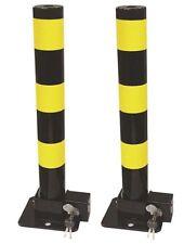 2 Streetwize Folding Robust Security Parking Post Driveway Bollard Lock & Key