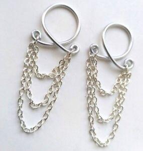 2 x Triple Chain Nipple Ring Clip on Body Jewelry Non Piercing  Fake Body Chain