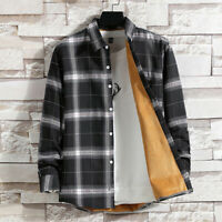Men Check Fleece Sherpa Lined Shirt Long Sleeve Plaid Top Blouse Collared Casual