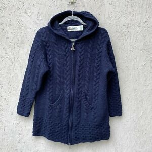 Aran Crafts Ireland 100% Merino Wool Hooded Zip Front Celtic Cable Knit Sweater
