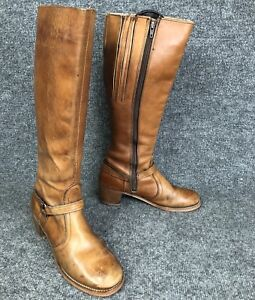 Vintage Womens Sz 9N Brown Leather Knee High Harness Boots Made In USA