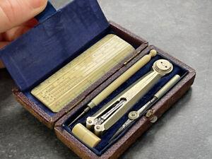 Rare Antique Pocket Drawing Instruments/Drawing Set - Optician - original box