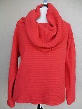 80s Vtg DKNY Shaker Sweater Orange Giant Cowl Oversize M