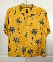 Guess Jeans Men's Aloha Hawaiian Button Down Shirt Palm Tree Rayon Yellow  XL