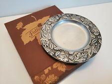 "Longaberger Falling Leaves Pewter Plate 8"" - Candle Holder Salad Nib Itm#77321"