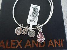 Alex and Ani JUNE LIGHT AMETHYST TEARDROP Silver Charm Bangle New Tag Card & Box