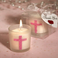 Frosted white glass votive holder with a sparkling pink cross design