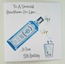 Personalised Birthday Card 50th Gin Tonic Brother In Law Son ANY Bottle/Relation