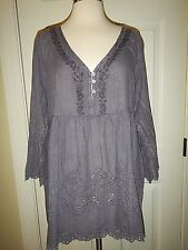 NEW L XL 12 14 Simply Noelle Timeless Purple Distressed Eyelet Button Top NWT