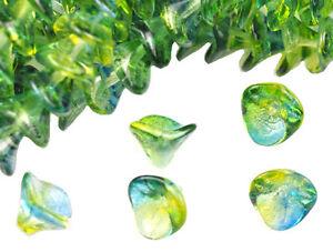 4 Blue / Yellow Three Petal Glass Flower Beads 12MM