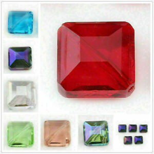 2 Style 14mm 10Pcs Faceted Square Spacer Beads Crystal Glass Jewelry Making Bead
