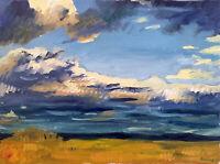"Cloud Horizon Landscape Impressionist Original Oil Painting Signed 18""x24"""