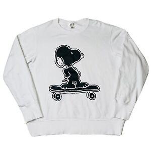 Uniqlo x Kaws Peanuts Snoopy On Skateboard Crewneck Sweatshirt White Large RARE