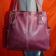 FOSSIL Purple Medium Leather Shoulder Hobo Tote Satchel Slouch Purse Bag
