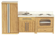 Dollhouse Furniture Kitchen Set 3pc. Oak Refrigerator,Sink,Stove T4533