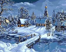 Diy oil painting, paint by number kit - Winter town Christmas gifts 1620 inch.