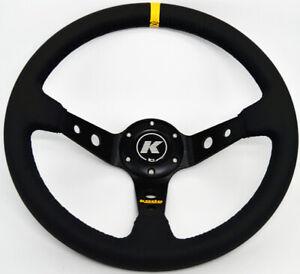 KODE-350mm Deep Dish Leather Steering Wheel Black Stitch Fit 6x70mm PCD Boss Kit