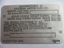 Nameplate Delorean de Lorean DMC S61 Gullwing Back IN The Future