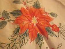 """EMBROIDERED HOLLY POINSETTIA FLORAL CHRISTMAS TABLECLOTH 63X100"""""""
