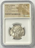 ATTICA ATHENS OWL 440-404 BC Silver Tetradrachm NGC CHMS 5x5 Only Buy the Best!