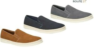 Mens Casual Deck Shoes Slip On Pumps Tan Blue Grey Route 21 Size 6-12 UK