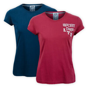 Womens Ladies Classic Cotton Crew Neck T-Shirt Red Blue Short Sleeve Casual Top